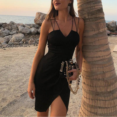summer women dress backless v neck black cross sexy vestidos strap slit party dress festival club office elegant