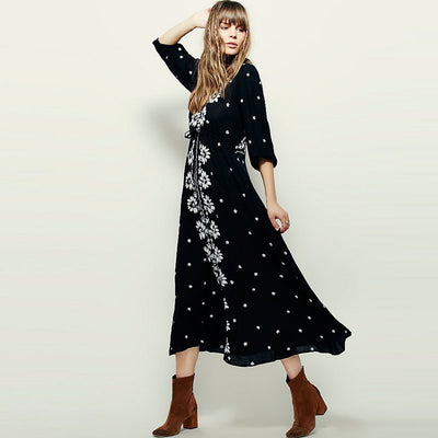 2XL 3XL Plus Size Boho Women Ethnic Gypsy Embroidery Long Maxi Hippie Dress Elastic Waist V Neck Embroidered Rayon Cotton Dress