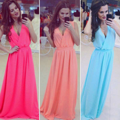 2XL Plus Size Dresses New Women Clothing Beach Bohemian Floor Length Long Dress Tie Waist Sleeveless V-neck Chiffon Dress Belt
