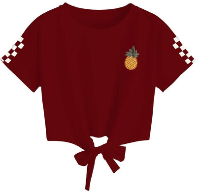 Women's Cute Crop Top Teen Girls Cropped Hoodie Pineapple Print Sweater Jacket Sweatshirt Jumper Pullover Tops