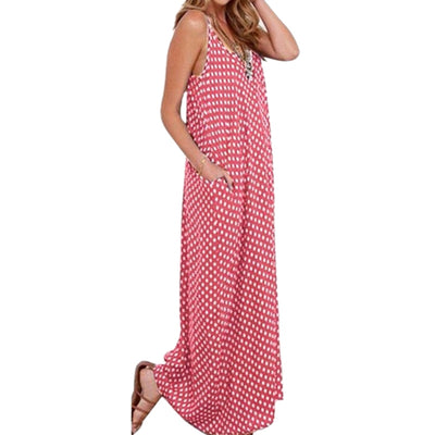 5XL Plus Size Summer Dress Women Polka Dot Print V Neck Sleeveless Sundress Loose Maxi Long Beach Bohemian Vintage Dress