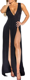 Womens Bandage Side Split V Neck Sleeveless Bodycon Clubwear Maxi Vest Dress