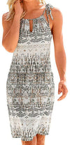 Womens Summer Casual Sleeveless Retro Print Halter Beach Short Dress Mini Dresses