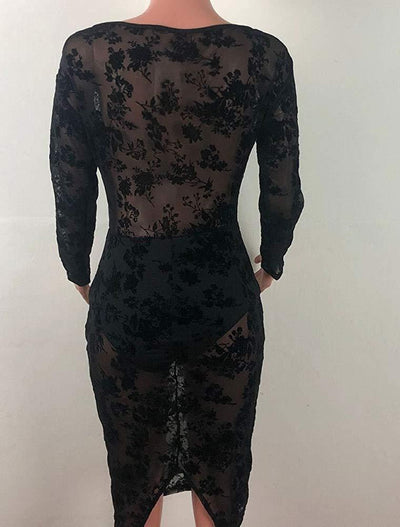 Womens Sexy Deep-V Neck Long Sleeve See Through Mesh Printing Lace with Slit Evening Dress