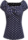 Womens Vintage Cap Sleeve Polka Dot Blouse Cocktail Party Casual Shirt Tops