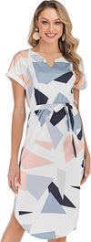 Womens Dresses Summer Casual Floral Geometric Pattern Short Sleeve Midi V-Neck Party Dress