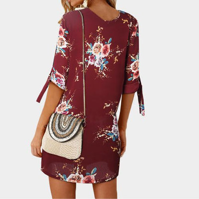 Womens Floral Print Bowknot Sleeves Cocktail Mini Dress Casual Party Dress
