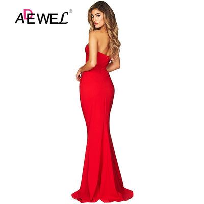 ADEWEL Elegant Sleeveless Strapless Mermaid Party Dress Women Sexy Backless Sweetheart Neckline Evening Gown Long Dresses