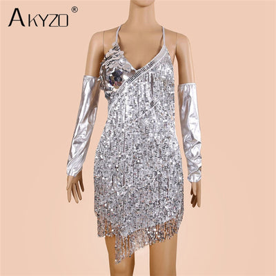 AKYZO Fashion V Neck Solid Sequined Backless Dress Women Sexy Off Shoulder Christmas Party Club Mini Dresses