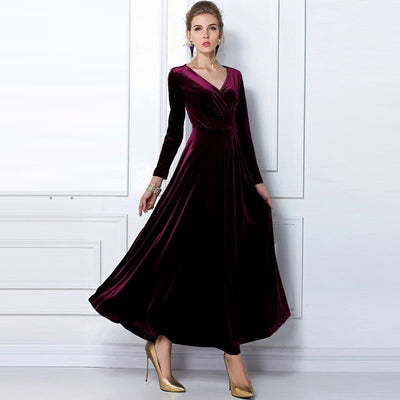 ALABIFU Autumn Winter Dress Women Elegant Casual Long Sleeve Ball Gown Dress Vintage Velvet Party Dresses Plus Size ukraine