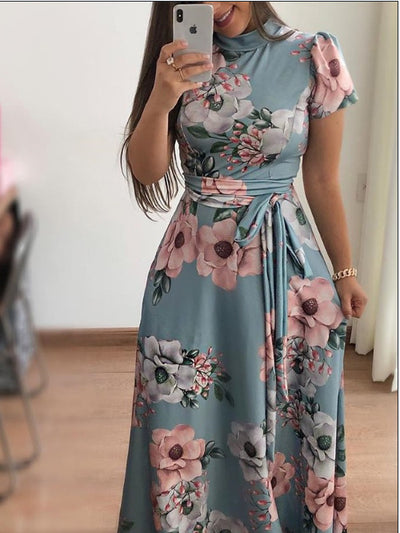 AVODOVAMA M Summer Dresses Floral Print Casual Loose Maxi Dress Women Short Sleeve Tie Waist Long Robe Femme