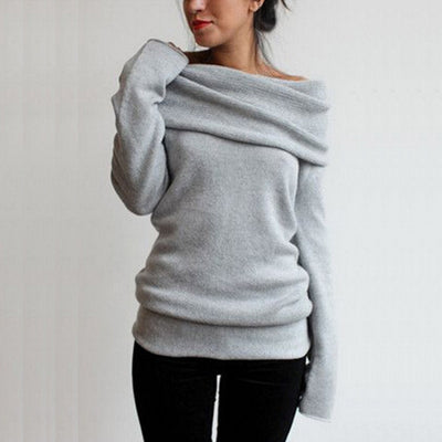 AVODOVAMA M Women Sweaters Fashion Autumn Winter Sexy Slash Neck Casual Knitted Pullovers Hot Long Sleeve Female Jumpers