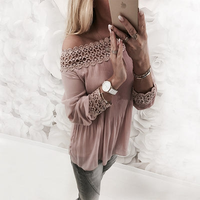 AVODOVAMA M Sexy Ladies Off Shoulder Long Sleeve Slash Neck Pleated Blouse Women Fashion Casual Lace Patchwork Shirts