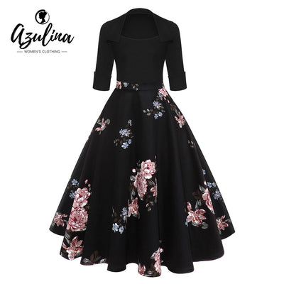 AZULINA Audrey Hepburn Vintage Party Dress Women Floral Flare Midi Dresses Winter Autumn Retro Elegant Dress Vestidos Robe Femme