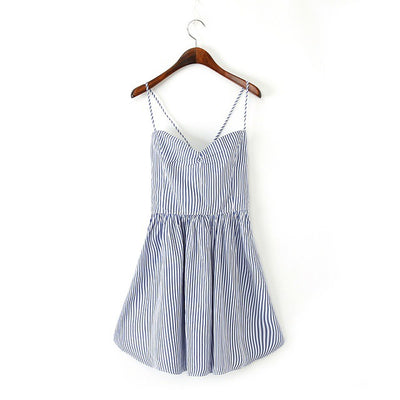 Aelegantmis Casual Striped Backless Slip Summer Dress Women High Waist Spaghetti Strap Short Sexy Beach Dress Ladies Sundress