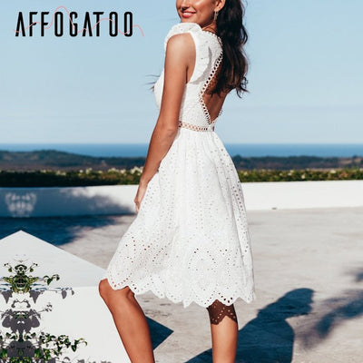 Affogatoo Backless hollow out white dress women Vintage v neck ruffle cotton short dress Elegant embroidery casual summer dress