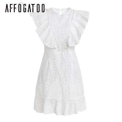 Affogatoo Cotton embroidery white dress women High waist a line summer dress Backless ruffle sleeve casual dress vestidos