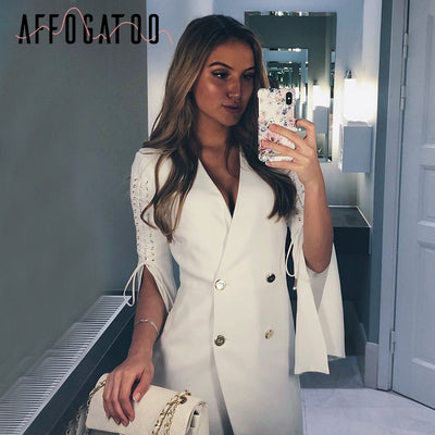 Affogatoo Ol Lace Up Split White Blazer Dress Women Elegant Double