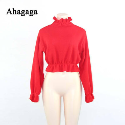 Ahagaga 2019 Spring Summer Sweater Women Tops Fashion Solid Red Ruffles Regular Sexy Short Knitted Women Sweaters Pullovers tops