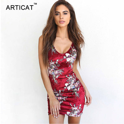 Articat Printed Sexy Backless Dress Women Sleeveless Cross Bandage Bodycon Mini Sheath Pencil Summer Dress Lace Up Party Dresses