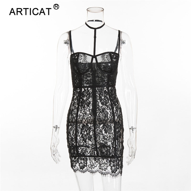 Articat Sexy See Through Women Lace Dress Halter Strapless Sheath Bodycon  Bandage Dress Backless Short Party a1e6ab03b0a3