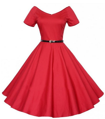 Audrey Hepburn Rockabilly Dress Retro Vintage 50s 60s Solid Sexy V-Neck Ball Gown Short Sleeve Empire A-line Party Vestidos **