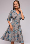 Autumn A-line vestidos Elegant dress Half sleeve V-neck sexy Knee-Length A-Line dress Women casual printing bottom dresses