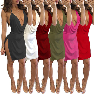 Autumn Casual European American Sling Low-cut Backless Dress Women Clothing Mini Solid Split Deep V-Neck Three Quarter Dress
