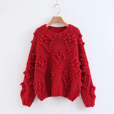 Autumn Coarse wool handmade knitted Sweater women Half turtleneck lazy Rough wool Knitted Lantern Sleeved 3D Yarn Ball Pullover