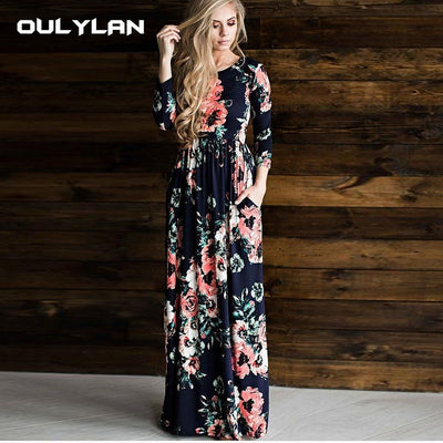 Autumn Dress Winter Long Dress Floral Print Boho Beach Dress Tunic Maxi Women Evening Party Dress Sundress Retro Hippie Vestidos