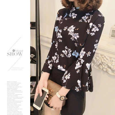Autumn Floral Chiffon Blouse Women Tops Flare Sleeve Shirt Women Ladies Office Blouse Korean Fashion Blusas Chemise Femme