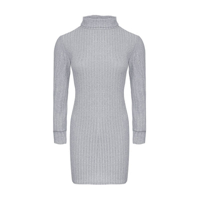 Autumn Knitted Turtleneck Mini Bodycon Dress Winter Long Sleeve Pull Femme Pullover Ribbed Sweater Dress Vestidos Hippie Robe