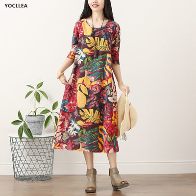 Autumn Long Sleeve Print Dress Women O Neck Loose Casual Cotton Linen Long Dress Vestidos Lady Spring Dress For women