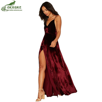 Autumn New Velvet Maxi Backless Dress Womens Party Dresses Deep V Neck Long Elegant Dress New Strappy Wrap Dress clothing AF518