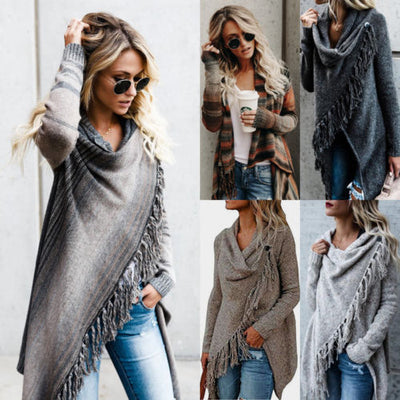Autumn New Women Fringe Tassels Shawl Coat Tops Long Sleeve Inverness Irregular Cardigans Chic Knitted Ladies Sweater Jumper