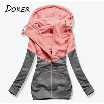 Autumn Patchwork Hoodies Sweatshirts Women Long Sleeve Pocket Hooded Casual Jacket With Zipper Female Fashion Big Size Warm Tops