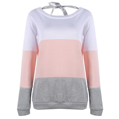 Autumn Spring Women Sweatshirt Girls Fashion Long Sleeve Patchwork Back V Collar Lace up Tops Female Soft Personality Hoodies