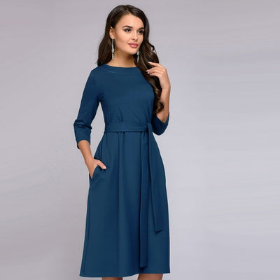 Autumn Vintage Elegant Sashes Straight Office Dress Seven-Sleeve V Neck Solid Knee-Length Party Dress Women Casual Loose Dresses
