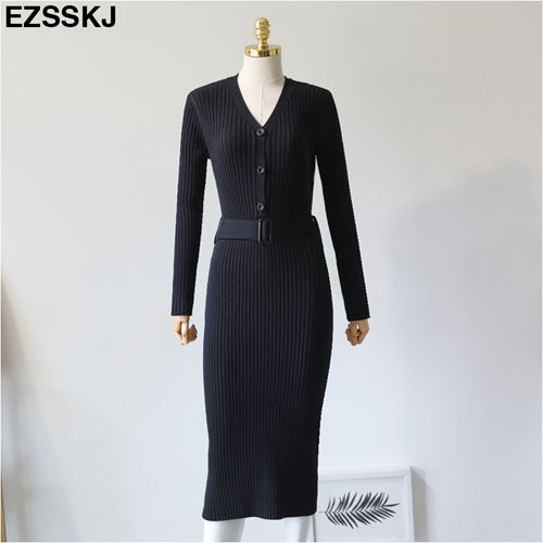 7ee4b051a7b1 Autumn Winter Knit Long Dress Women Casual V Neck Slim Bodycon Sweater  Dresses Office Lady Korean Style Button Dress With Belt