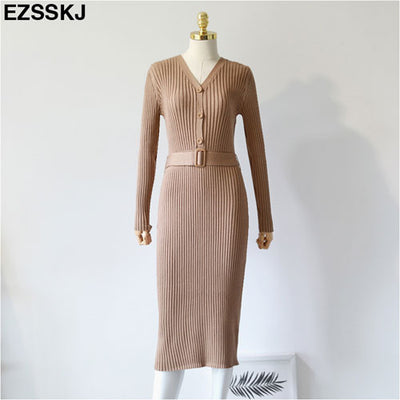 Autumn Winter Knit Long Dress Women Casual V Neck Slim Bodycon Sweater Dresses Office Lady Korean Style Button Dress With Belt