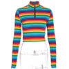 Autumn Winter Women Rainbow Stripped High Neckline Zipper Long Sleeve Casual Women Crop Top Hoodies Sweatshirt Tops Street Style