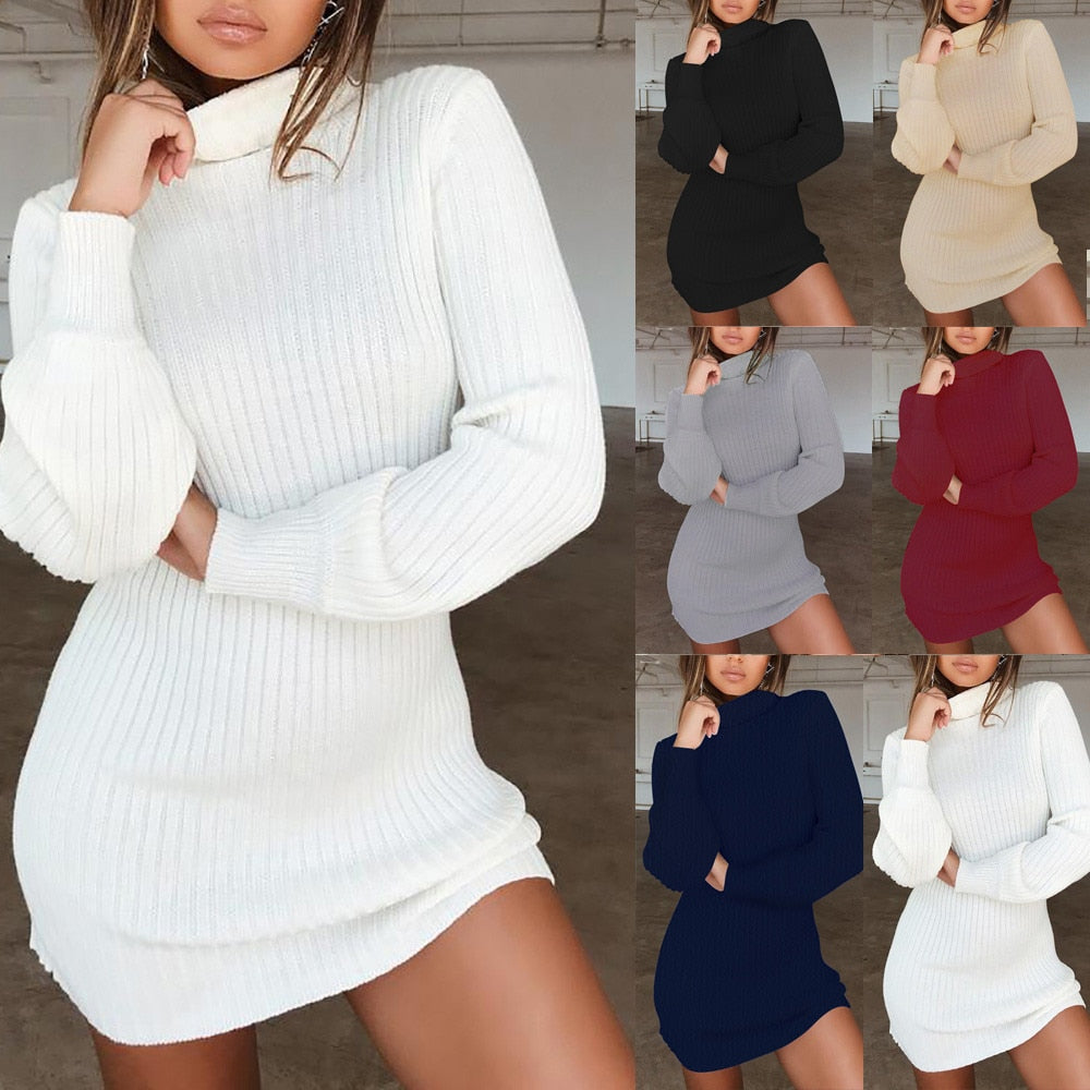d830b92058b Autumn Winter Women Sweaters Female Turtleneck Long Sleeve Sweater Dress  Knitted Pullover Sweater Dress Sueter Mujer