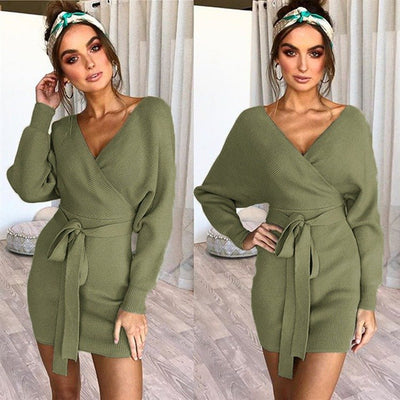 Autumn and winter sexy v-neck hip long-sleeved women dress sweater warm Dresses Sexy Bodycon Slim backless Belted Dress