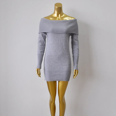 Autumn winter warm thick sexy off the shoulder Knitted Long Sleeve Casual Sweaters dress bodycon white cashmere Female pullovers