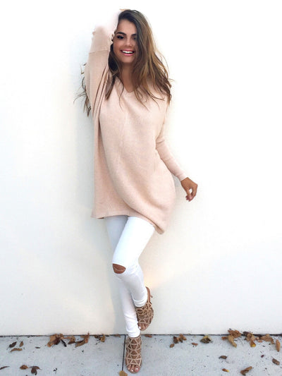 Autumn women sweaters and pullovers Fashion long sleeve casual Tops sweater Loose Long V neck knitted jumpers sweter New