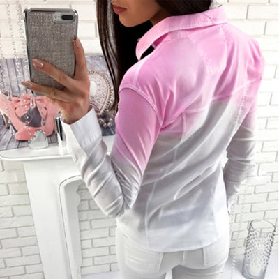 Avodovama M Fashion Office Lady Clothing Wear Casual Women Brief Long Sleeve Gradient Colour Open Stitch Tops Blouse