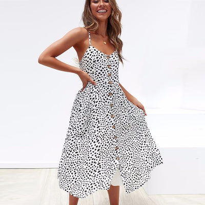 BEFORW Cotton Summer Dress Women Sexy Straps Backless Beach Dress Bohemian Floral Sundress Pocket Dresses Female Vestidos