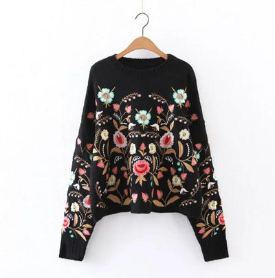 BLACK sweater pullovers floral embroidered on both sides long sleeve loose sweater winter knitted Casual women sweater