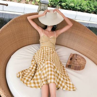 BOBOKATEER Boho Sexy Backless Dress Women Off Shoulder Ladies Dresses Yellow Plaid Summer Beach Midi Women Dress Elegant 2019