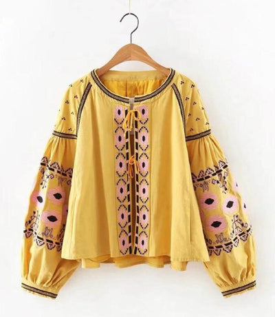 BOHO blouse cotton floral embroidered blouses tassel long lantern sleeve loose Casual hippie women tops blouse and shirt